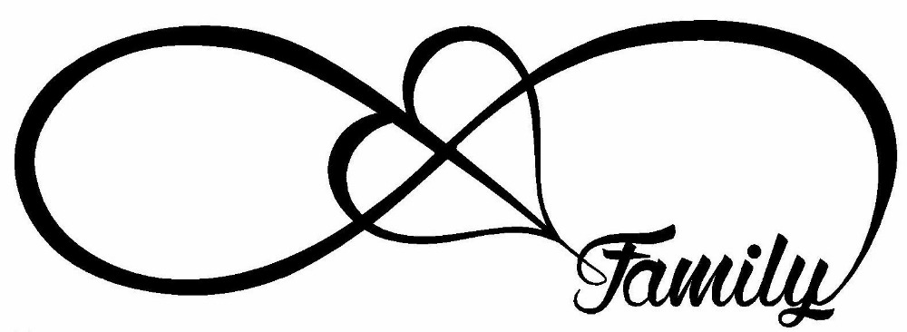 FAMILY LOVE HEART INFINITY FOREVER SYMBOL VINYL DECAL CAR