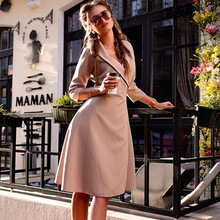 spring and autumn solid elegant a-line woman dresses office lady new style v-neck knee-length female