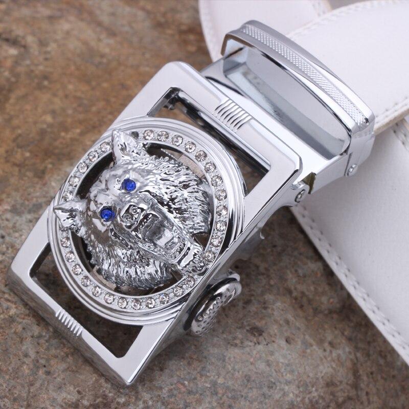 ZAYG fashion men belt high quality genuine leather belt men automatic wolf buckle belt white luxury diamond animal the beast in Men 39 s Belts from Apparel Accessories