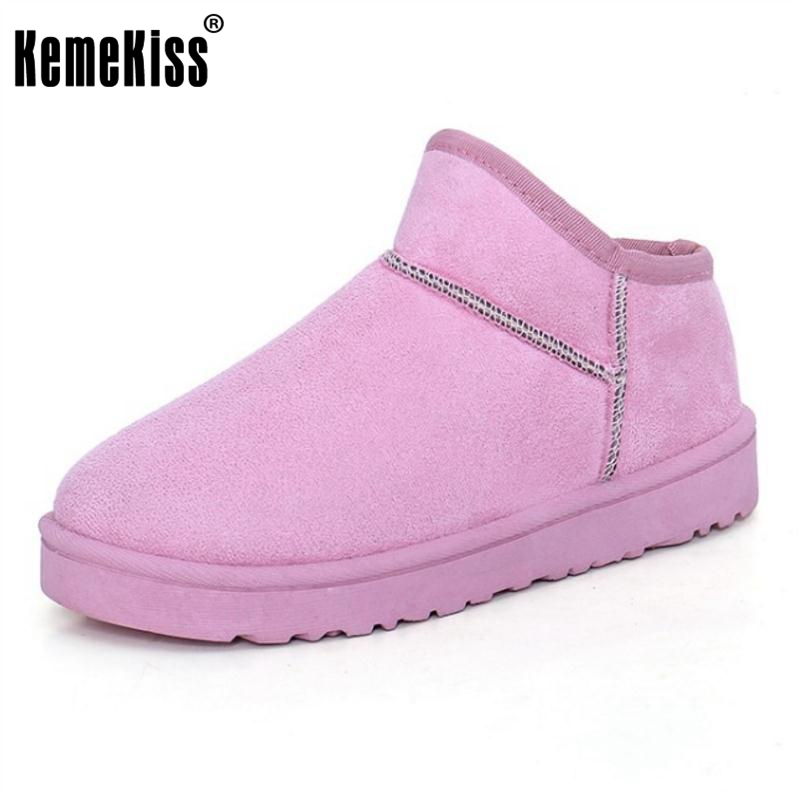 KemeKiss Women Ankel Flats Boots Thick Fur Snow Botas For Cold Winter Shoes Warm Short Boot With Fur Women Footwear Size 36-40