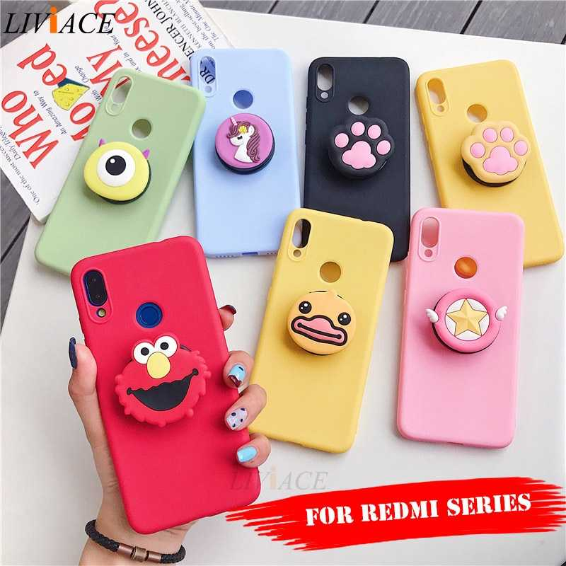 3D silicone cartoon phone holder case for xiaomi redmi note 7 5 6 pro k20 7a 4a 4x 5a prime 6a 5 plus go cute stand cover