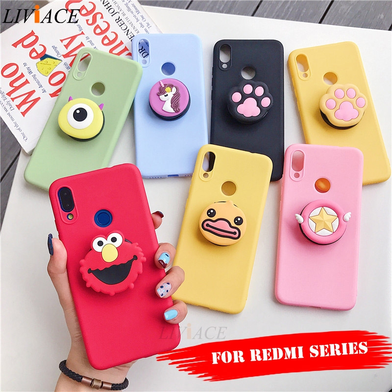 <font><b>3D</b></font> silicone cartoon phone holder case for <font><b>xiaomi</b></font> <font><b>redmi</b></font> note 7 5 6 pro k20 7a <font><b>4a</b></font> 4x 5a prime 6a 5 plus go cute stand cover image