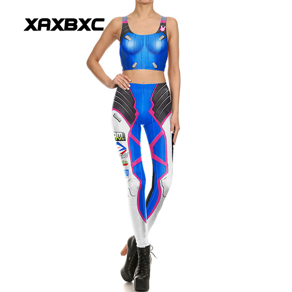 NEW 1641 Sexy Girl Leggins Blizzard Game OW D.VA Tank Cosplay Prints Women Leggings Crop Top Vest Bra Sets Fitness Workout Suit