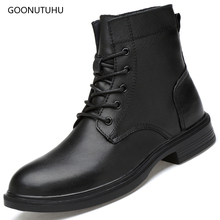 2019 autumn winter men's boots genuine leather casual shoes new ankle snow boot black shoe man plus size military boots for men vancat 2018 new genuine leather men snow boots autumn winter outdoor working man ankle boot men s work shoes plus size 38 47