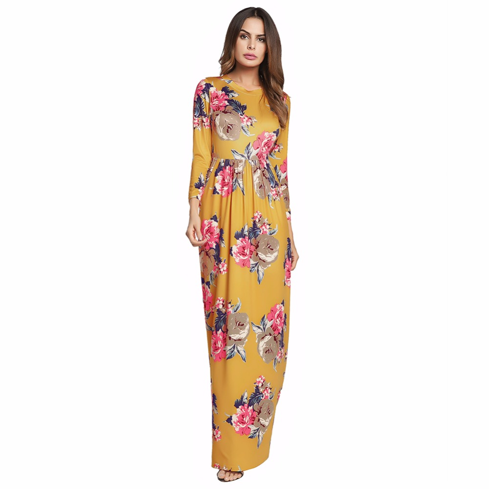 2018 summer flower  print Fasion sexy maxi dress o-neck ankle-length dress The milk silk fabric dress