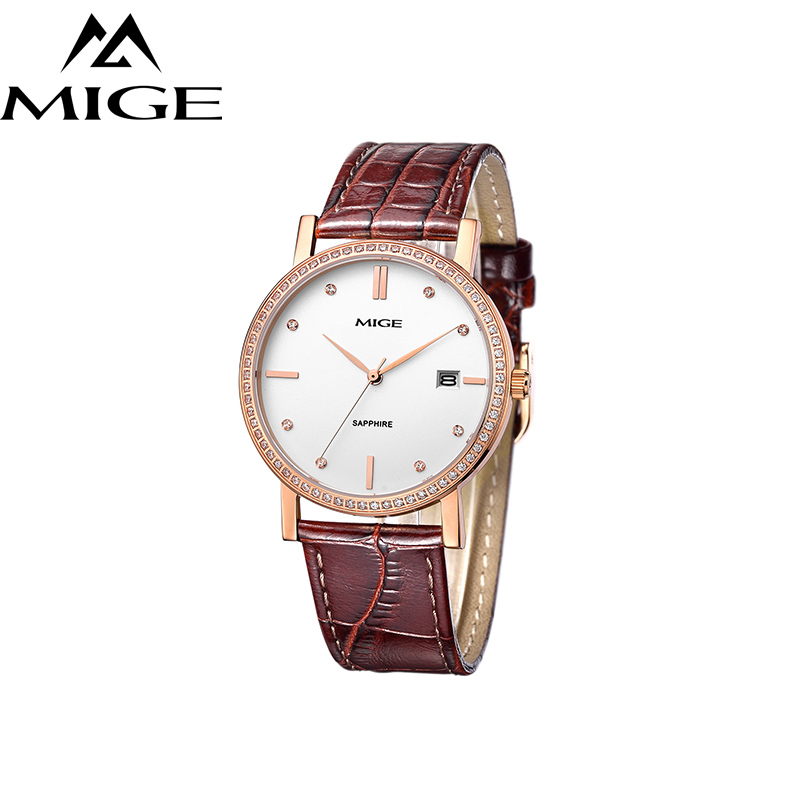 Mige 2017 Real New Sale Mans Watch White Black Brown Leather Business Waterproof Rose Gold Case ultrathin Quartz Man Watches mige 2017 new hot sale lover man watch rose gold case white casual ultrathin waterproof relogio masculino quartz mans watches