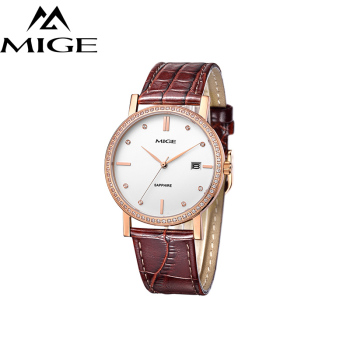 Mige 2017 Real New Sale Mans Watch White Black Brown Leather Business Waterproof Rose Gold Case ultrathin Quartz Man Watches