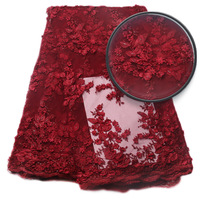 New Arrival African Party Nigerian Lace Handmade Of Beads And 3D Flowers XZ803B 2 Wine Color