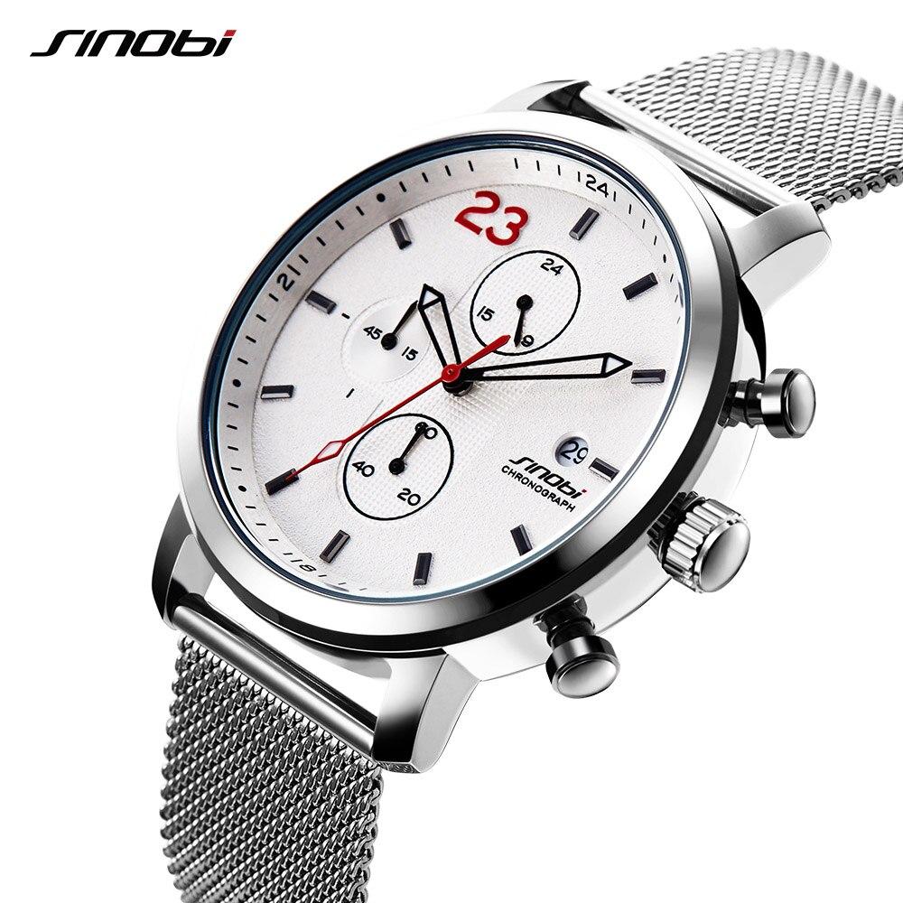 SINOBI Watch Mens Wristwatches Male Sport Brand Luxury Milan Strap Chronograph Men Wrist Watch Clock Man Relogio Masculino