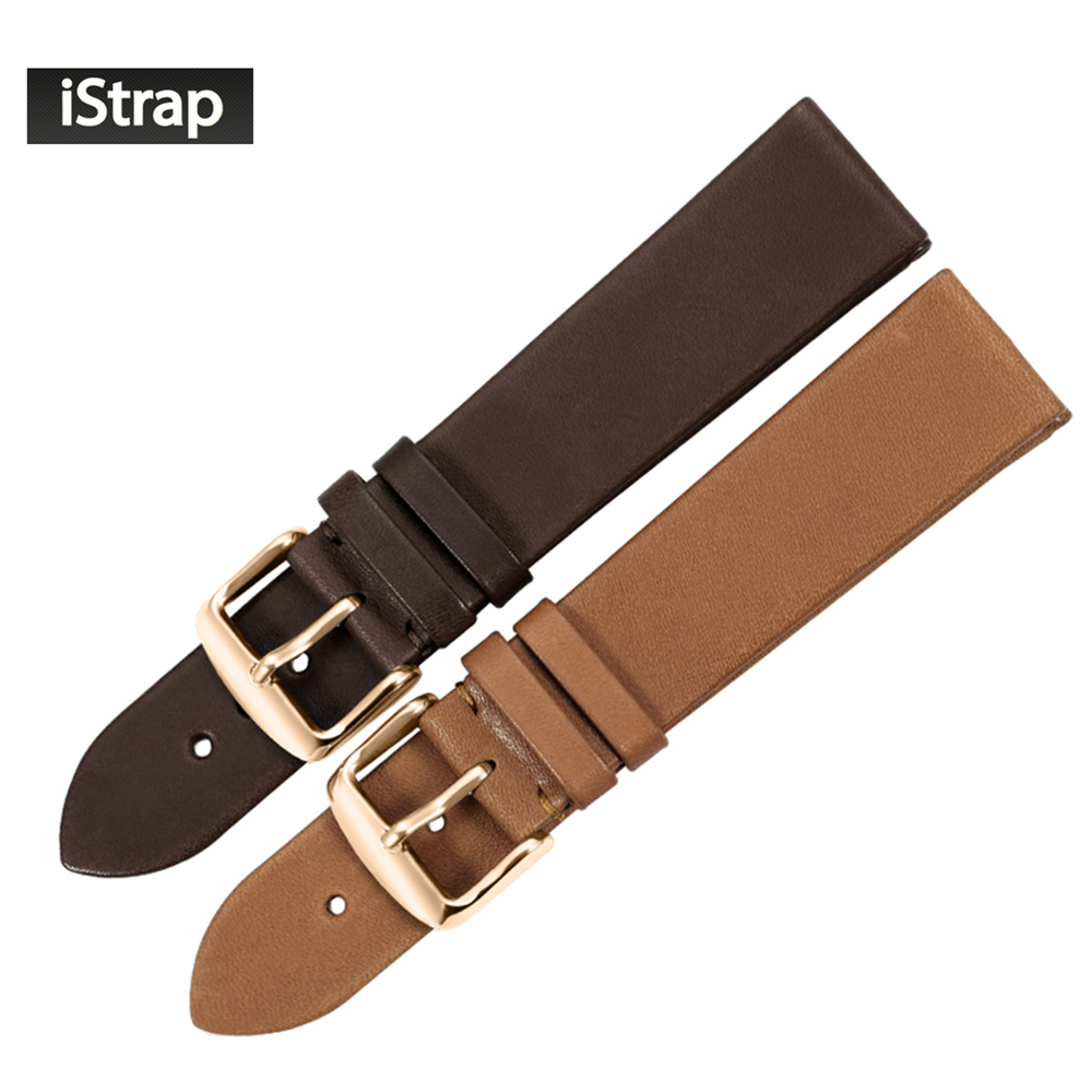 iStrap 18mm 19mm 20mm 22mm Genuine Calfskin Leather Watch Band Steel Rose Gold Buckle Replacement Strap Supper Soft Watchband istrap 22mm handmade genuine calf leather padded replacement watch band for men black 22