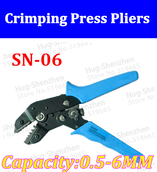 ФОТО High Quality SN-06 Crimping Press Pliers For Bare Terminal AWG 20-10 0.5-6MM terminal clamp