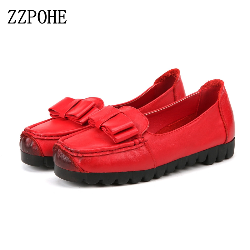 ZZPOHE Autumn New Ladies Leather Comfort Soft Bottom Womens Shoes Bowknot Fashion Moms Flat Shoes Woman Work Shoes size 35-40