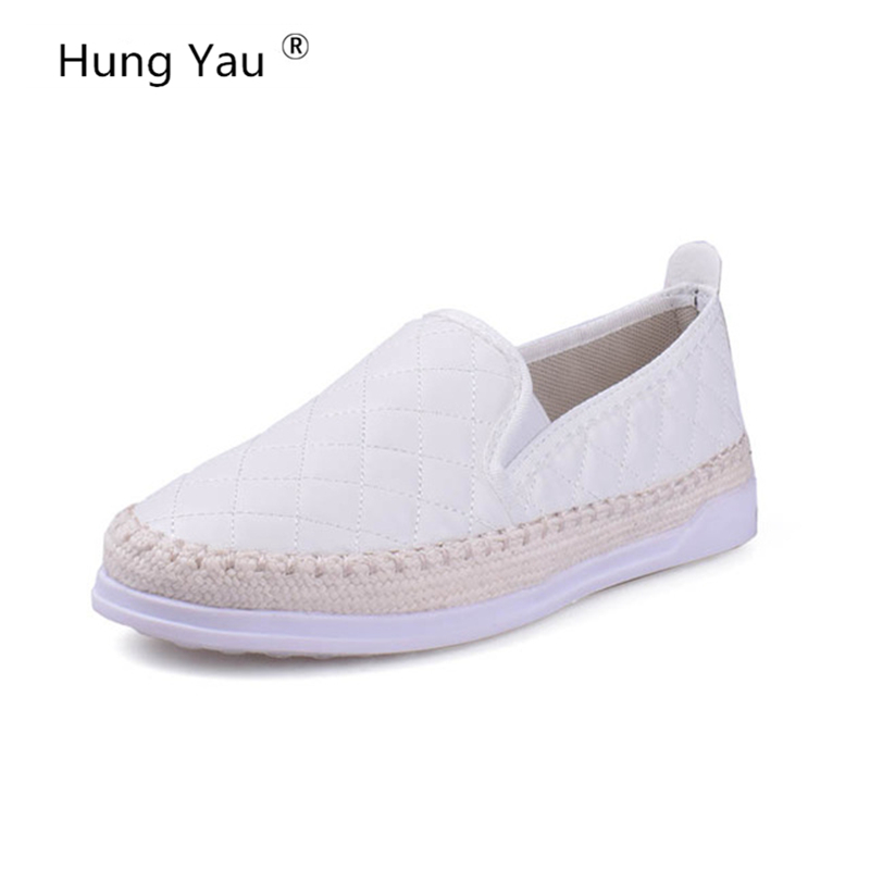Hung Yau Loafers Weave Straw 2018 Summer Style Slip On Flats Fisherman Shoes Woman Casual Spring Women Flat Comfort Shoes Size 8 cresfimix zapatos women cute flat shoes lady spring and summer pu leather flats female casual soft comfortable slip on shoes