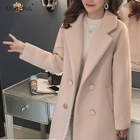 Mulena Slim Plus Cotton Long Wool Blends Coat Women Winter Hardy Solid Warm Thick Office Work Lady Coats Straight Parkas Jacket