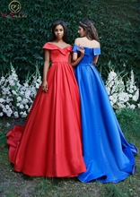 Blue Evening Dress Lace-up Back A-line Sweetheart Neck Off Shoulder Simple Elegant Tiered Top Sweep Train Satin Custom Prom Gown lace up front sweetheart neck plaid bandeau top