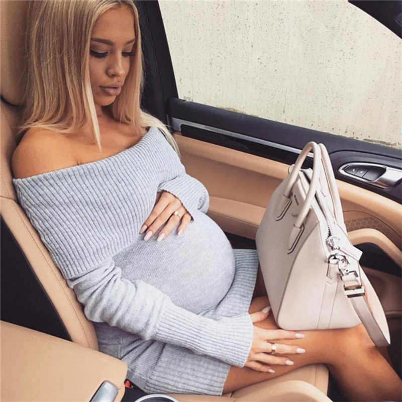 Maternity Dress Autumn Winter Pregnancy Clothes for Pregnant Women Shoulderless Sexy Mummy Clothing Free Size Handcraft Elastics