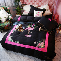 Luxury Egypt Cotton Flamingo Black Bedding Set Embroidery Silky Duvet Cover Sets Bed Sheet Pillowcases Queen King size 4/6/7Pcs