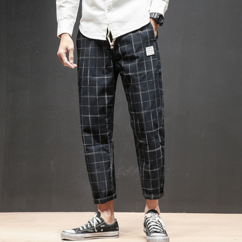 Spring 2019 Fashion Business Plaited Printed Casual Trousers Sportswear Trousers Personality Youth Men Wear/ Ankle-Length Pants
