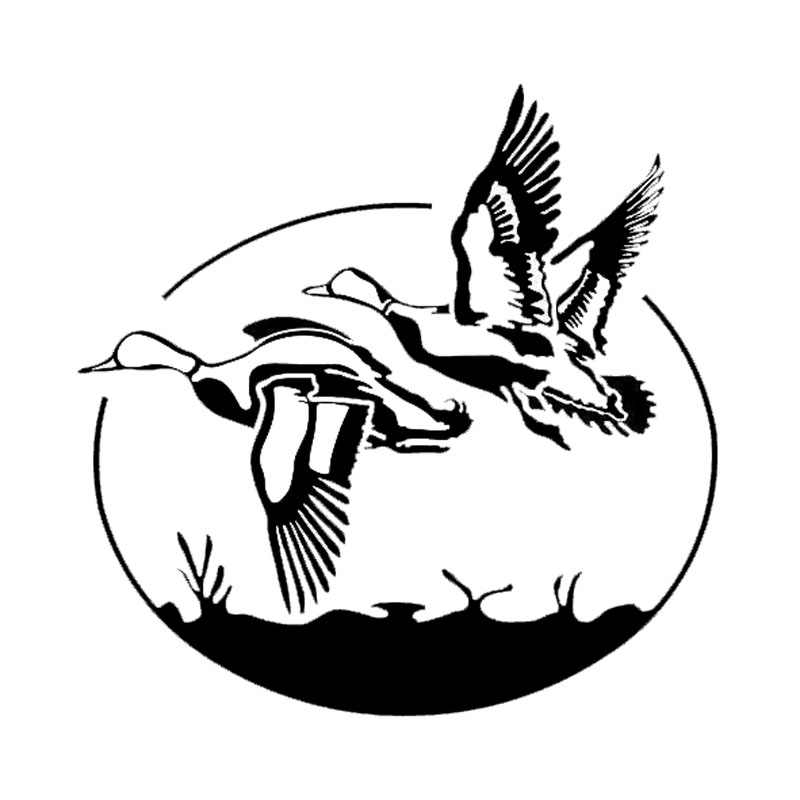 17.8*17.4CM Funny Flying Wild Ducks Car Stickers Vinyl Hunting Vinyl Car Styling Decal Black/Silver S1-2328