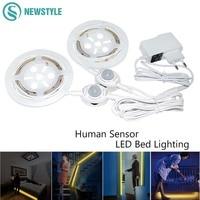 SMD3528 motion sensor LED Strip 36leds/1.2m waterproof IP65 Led Light smart Warm White night light bed light emergency lamp