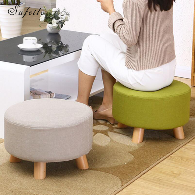 SUFEILE Children's Solid Wood Stool Creative Fabric Sofa Low Chair Creative fashion for shoe stool Home Decoration chair D50