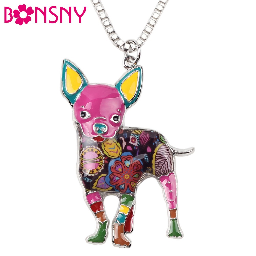 Bonsny Maxi Statement Metal Alloy Chihuahuas Dog Choker Necklace Chain Collar Pendant Fashion New Enamel Jewelry For Women Gift