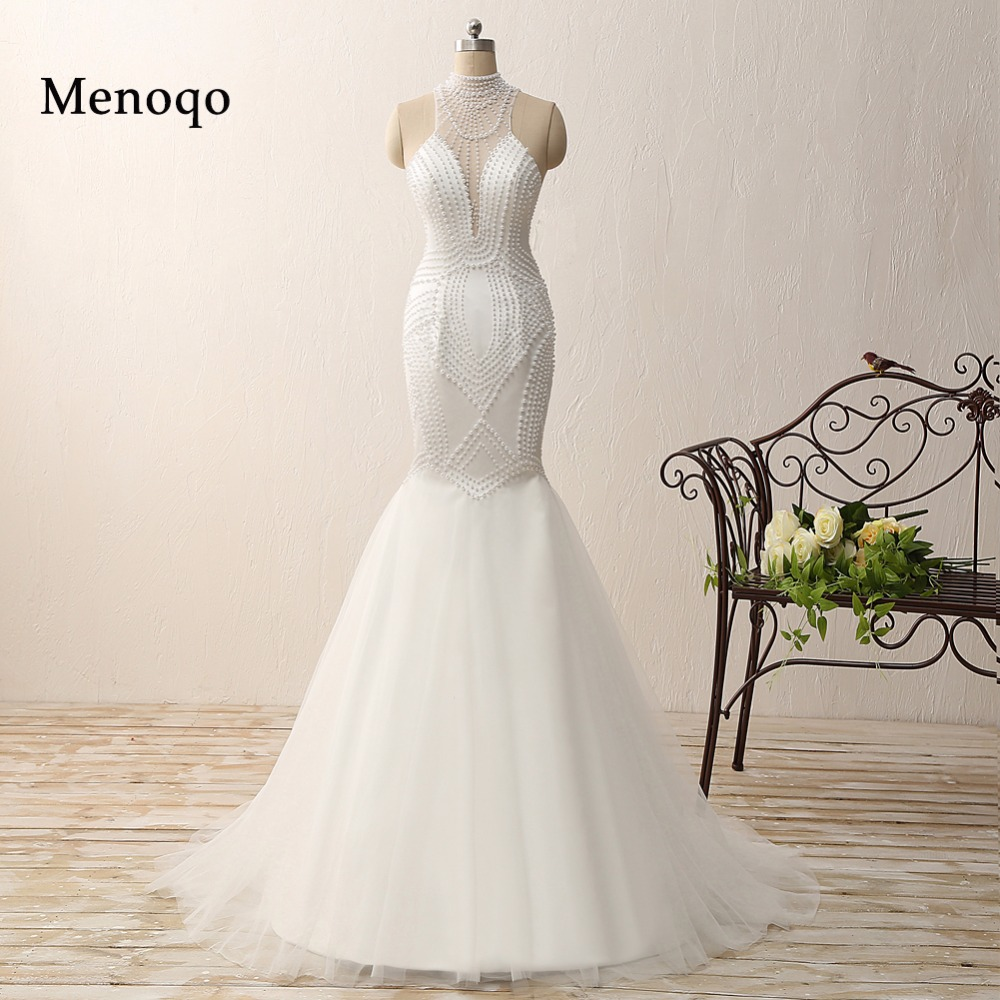 Sexy Mermaid 100 % Real   Prom     Dress   2019 White Chiffon Pearls Beads Long Party Gown Vestidos De Fiesta 0204-PRD