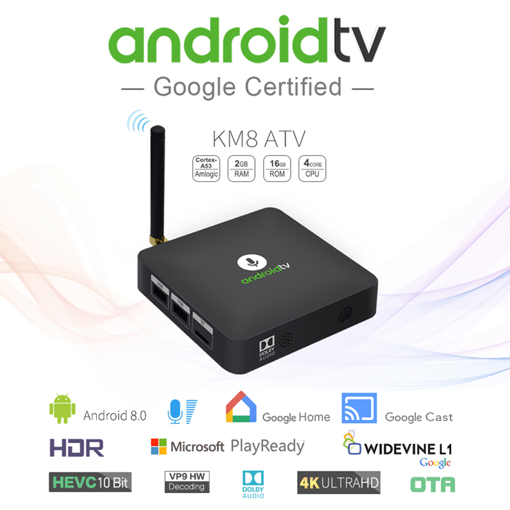 KM8 ATV Smart Android TV 8 0 BT IR Voice TV Box Amlogic S905X 2GB 16GB