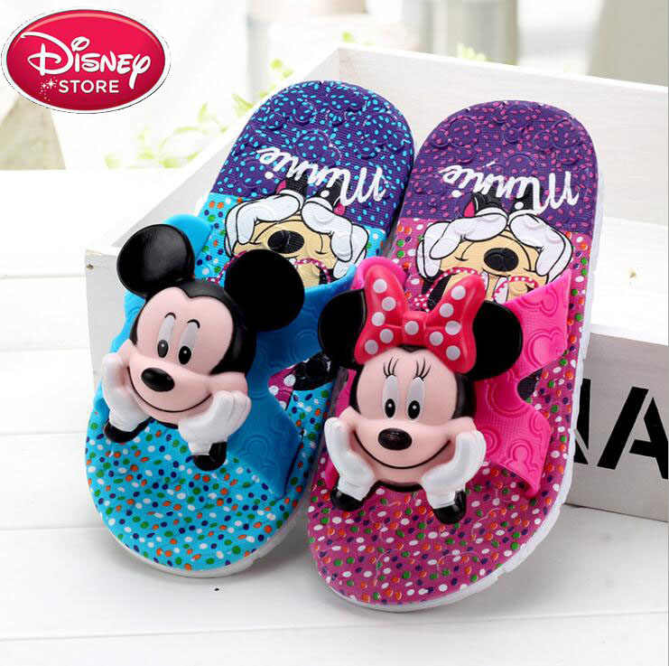 Disney Children Slippers for Girls Boys Minnie Summer Sandals Kids Flip Flop Home Bath Shoes Non-Slip Beach Shoes Animal
