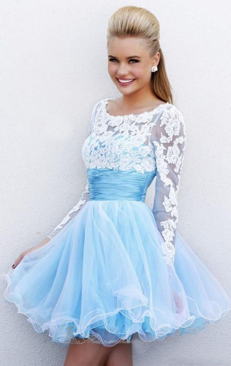 b7e76e62c58 Light Blue Cocktail Dresses With Sleeves