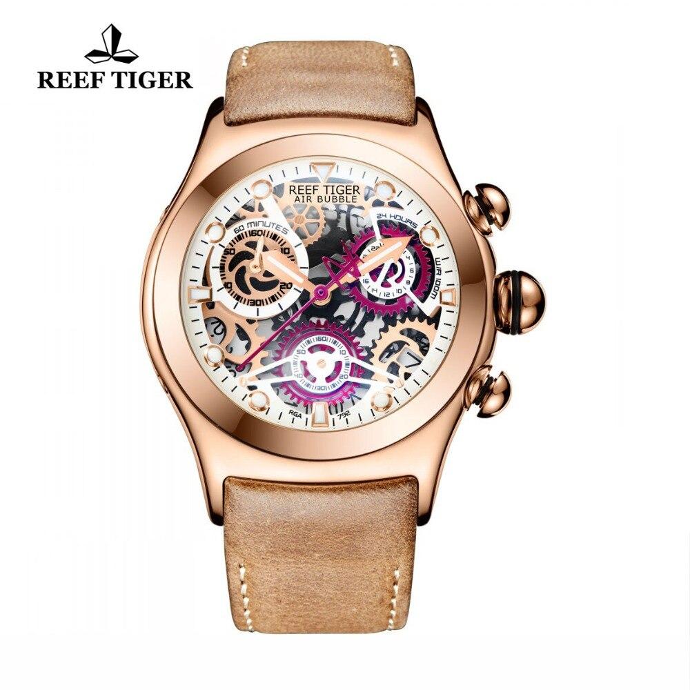 Риф Тигр/RT Хронограф Спортивные часы для Для Мужчин Скелет циферблат с датой три счетчики световой розовое золото уникальные часы RGA792