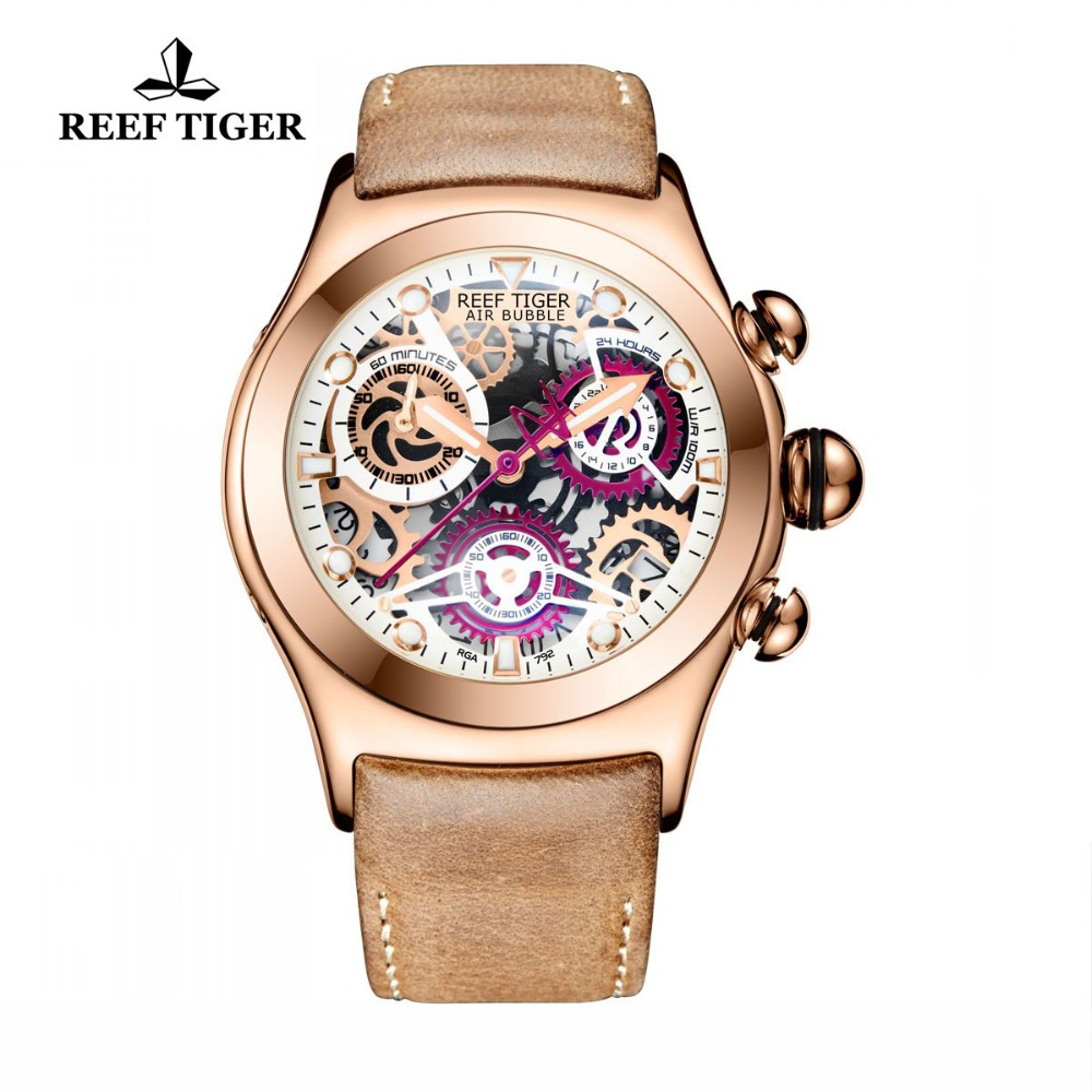Reef Tiger/RT cronógrafo deporte relojes para hombres esqueleto Dial con fecha tres contadores luminoso oro rosa relojes únicos RGA792