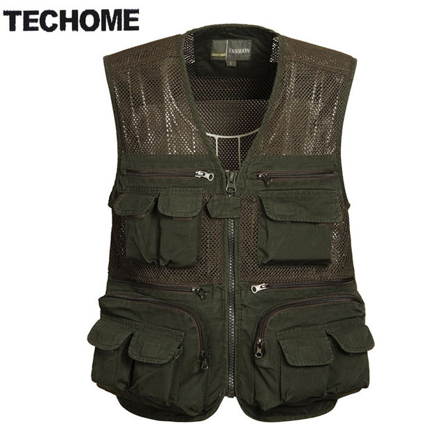 TECHOME Summer Multifunctional Mens Cotton Army Green Khaki Vest Male Mesh Multi-pocket Photography Vests Men Waistcoat Jacket