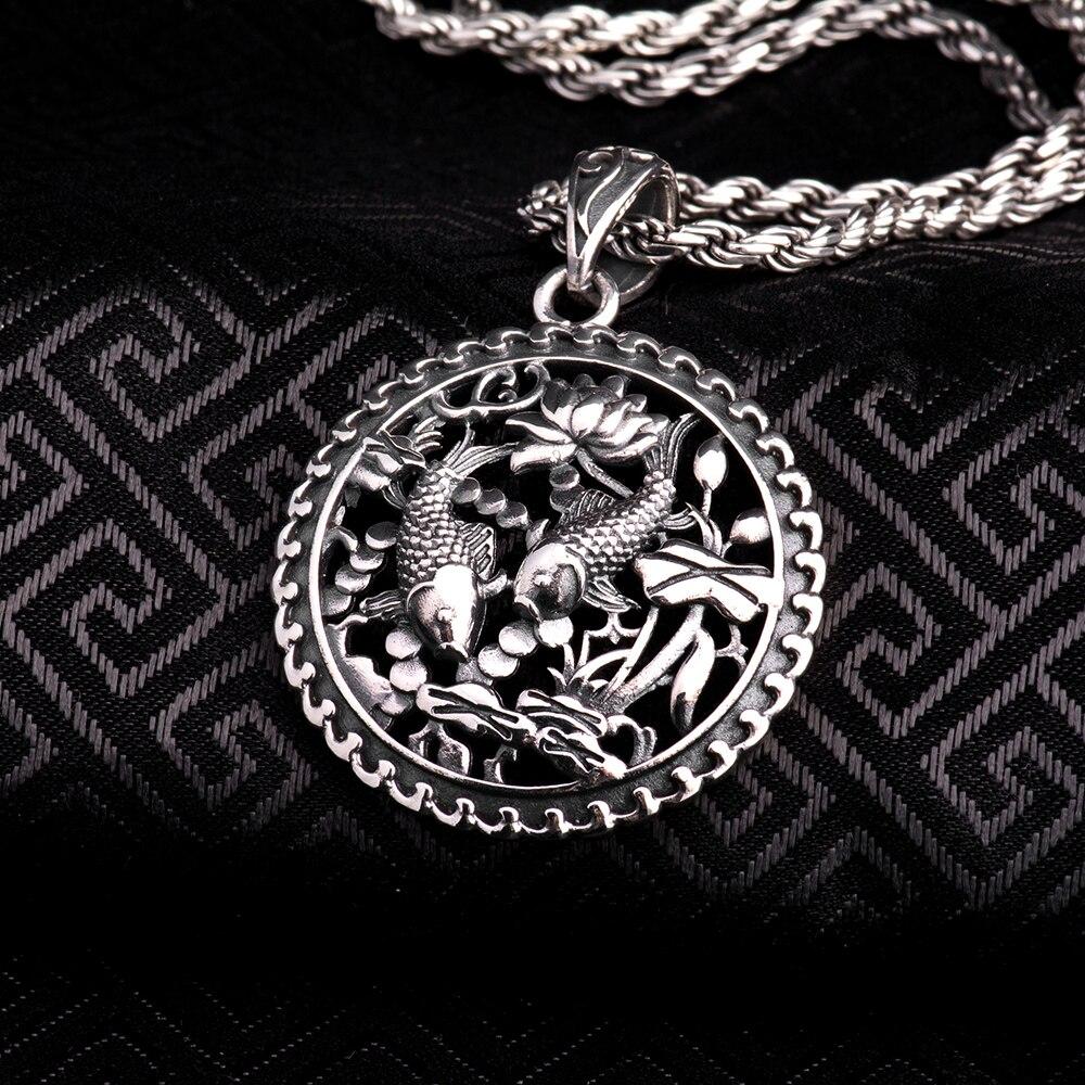 Sólido 925 plata esterlina genuino tailandés Colgante Para Hombre Joyería Vajra