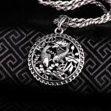 100% Real Pure Genuine 925 Sterling Silver Pendant S925 Solid Thai Silver Double Fish Pendants for Necklace Men Jewelry CP16