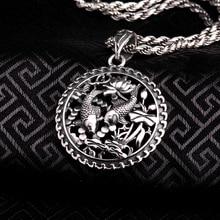 100% Реального Чистая Подлинная Стерлингового Серебра 925 Кулон S925 Solid Тайский Серебряный Двухместный Рыба Подвески для Ожерелье Мужчин Ювелирные Изделия CP16