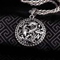 100 Real Pure Genuine 925 Sterling Silver Pendant S925 Solid Thai Silver Double Fish Pendants For
