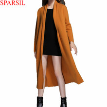 Sparsil Women's Mink Cashmere Blend Long Cardigan Scarf Collar Long Sleeve No Button Elegant All-Match Warm Casual Sweater B14