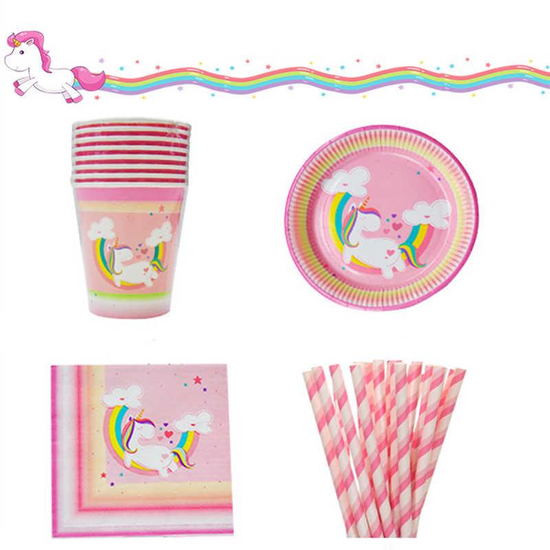 8 ชุดเด็กโปรดปรานสีชมพูยูนิคอร์น Disposable Tableware Rainbow แผ่นกระดาษถ้วยผ้าเช็ดปากฟางสำหรับเด็กวันเกิดทารกอาบน้ำตกแต่ง