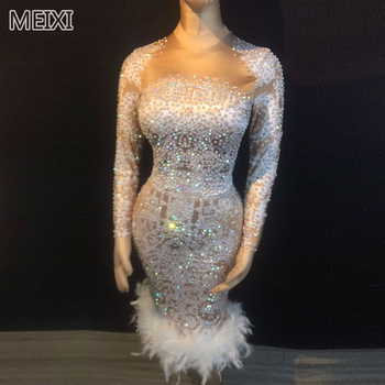 Gorgeous white feathered rhinestone one-piece dress bridal bar birthday party concert singer dancer costumes