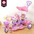 Xinghua Precioso Tiger Twins triciclo bebé triciclo tándem con manillar, marco de acero y plástico PP