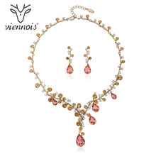 Viennois Mix Gold Color Crystal Drop Earrings Rhinestone Necklace Set For Women Geometric Party Jewelry Set 2019 newest viennois fashion jewelry gun color geometric finger rings for woman rhinestone and crystal party accessories