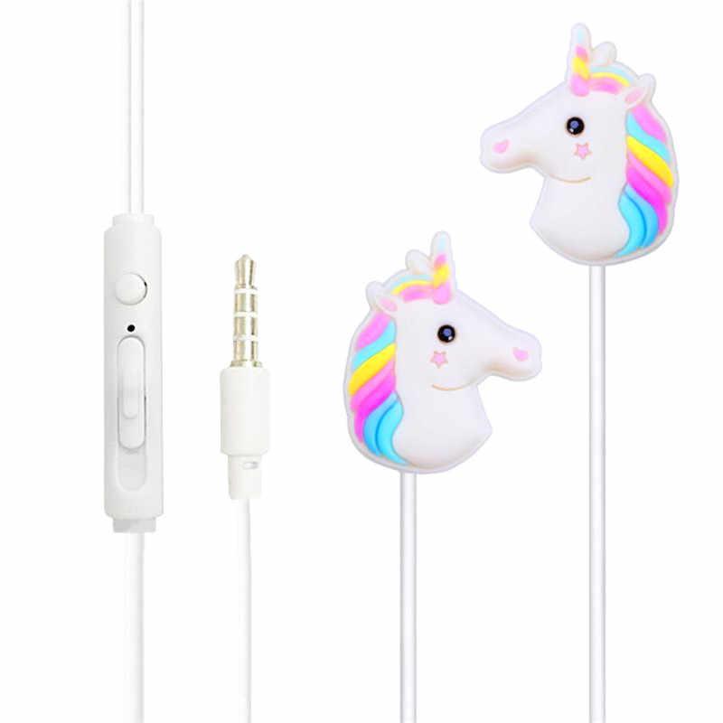 0c4ad8eeeea Cartoon Unicorn Earphone 3.5mm Headset Stereo Music Universal In-ear Earbuds  With Mic For