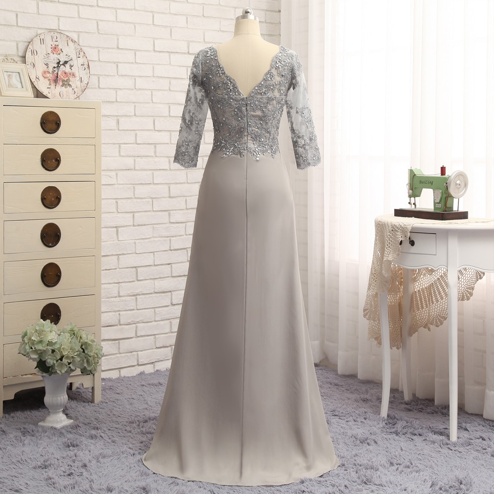 Plus Size Gray Mother Of The Bride Dresses A-line 3/4 Sleeves Chiffon Lace Wedding Party Dress Mother Dresses For Wedding