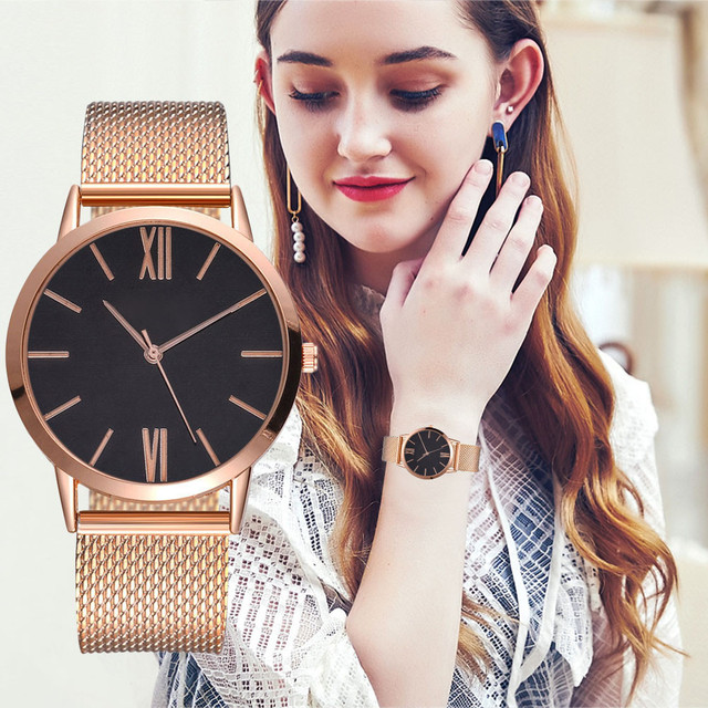 Men Women Fashion Stainless Steel Strap Analog Quartz Wrist Watch Luxury Simple