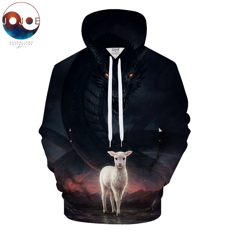 The Lamb and The Dragon by JojoesArt Hoodies 3D Men Sweatshirts Unisex Pullover Novelty Streetwear Casual Tracksuits Drop Ship