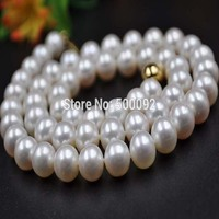 Fine 8.5 9mm white cultured freshwater pearl necklace gold clasp