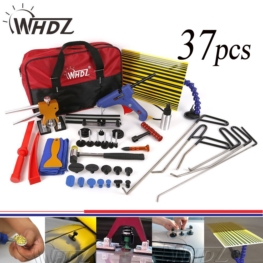 цена на 37pcs PDR Tools Set Dent Removal paintless Dent repair Tools Car Dent puller Reflector Board pdr auto body repair hand tool set