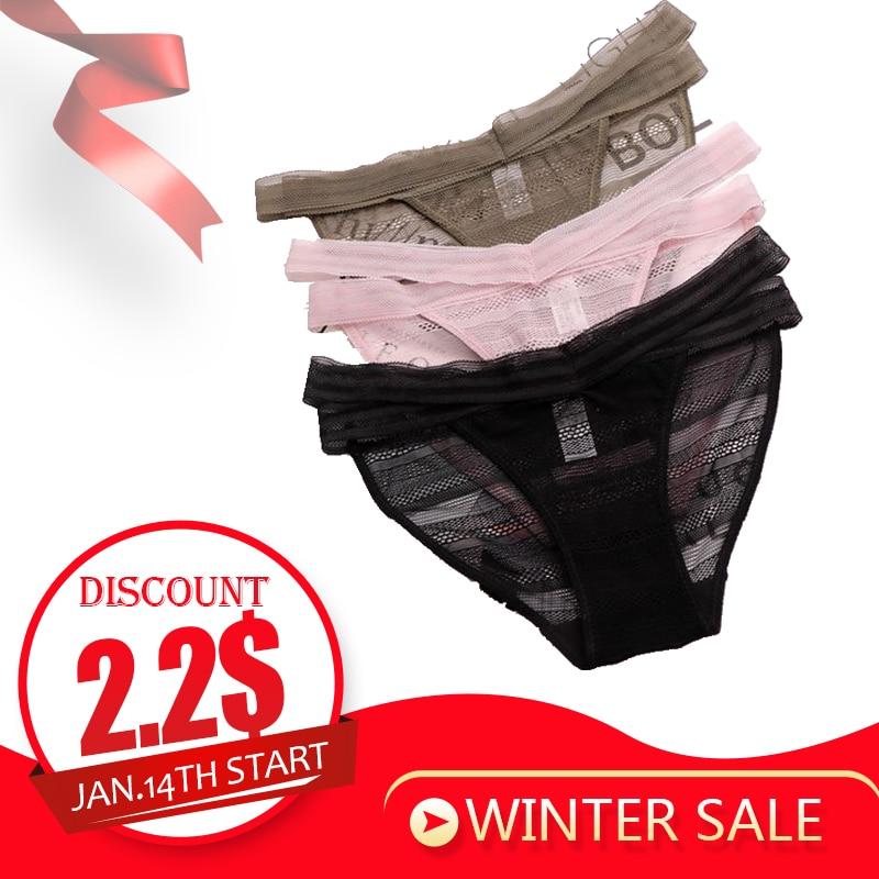SP&CITY Bandage Design Transparent Underwear Women Hollow Out Lace   Panties   Sex String Thongs Crotch Cotton Briefs Lingerie