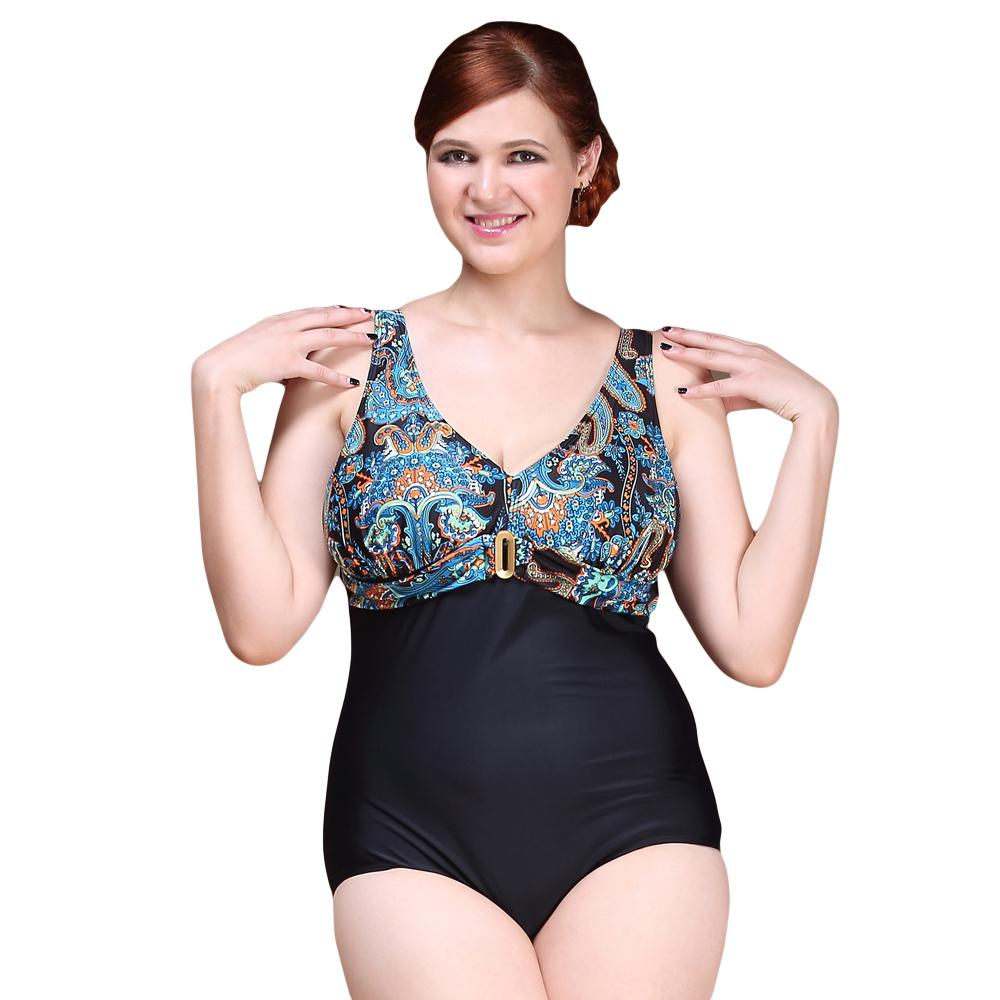 Sexy One Piece Swimsuit 2016 Vintage Plus Size Swimwear Women Retro Print Floral Beach Bodysuit Triangle Halter Bathing Suit nidalee plus size swimwear one piece swimsuit women sexy deep v neck print beach bathing suit push up skirt bodysuit monokini